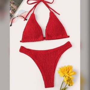 Shein Smocked High Cut Bikini